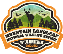 Mountain Longleaf National Wildlife Refuge 10th Anniversary logo